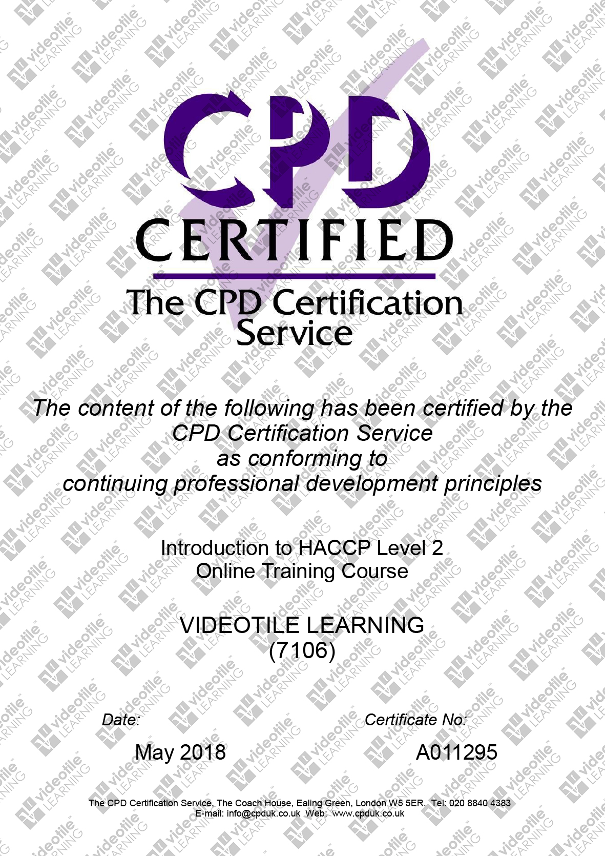Introduction to HACCP Level 2 Training - ERYRI CONSULTING